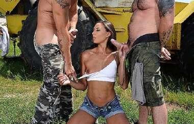 Cassie Del Isla - Outdoors Double Blowjob - Onlyblowjob